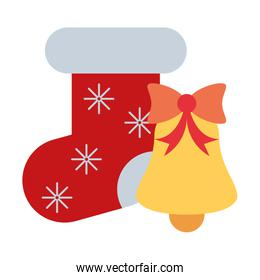 merry christmas bell and sock decoration icon