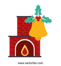 merry christmas bell and chimney decoration icon