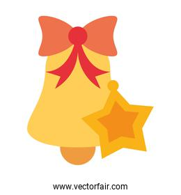 merry christmas bell and star decoration icon