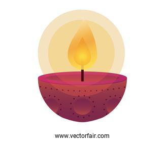 happy diwali candle traditional icon