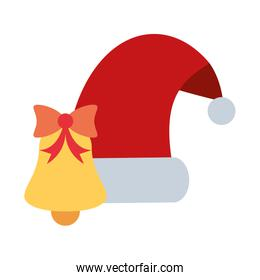 merry christmas bell with santa hat decoration icon