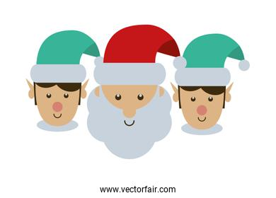merry christmas santa claus and helpers characters