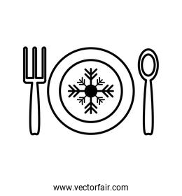 happy merry christmas dish with snowflake and cutlery
