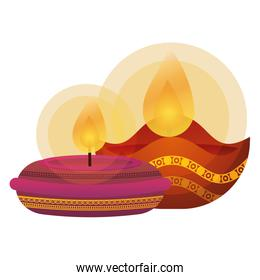 happy diwali pair candles traditional icons