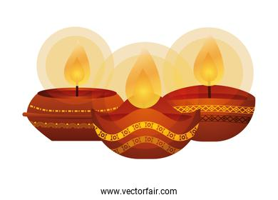 happy diwali three candles traditional icons