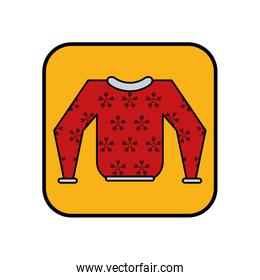 winter sweater with snowflakes icon