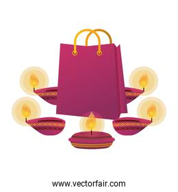 happy diwali candles with shopping bags