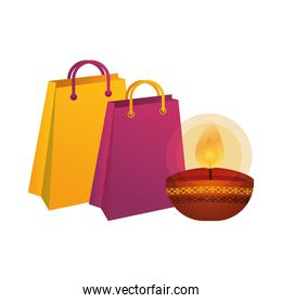 happy diwali candle with shopping bag