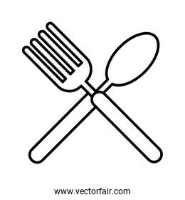fork and spoon cutleries line style icon