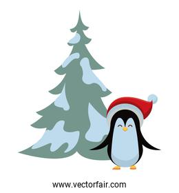 cute penguin with christmas hat and pine tree