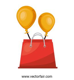 shopping bag with balloons helium marketing