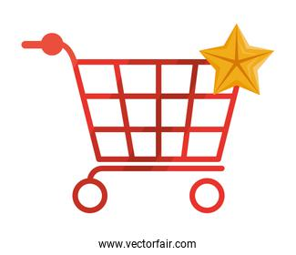 shopping cart and star icons