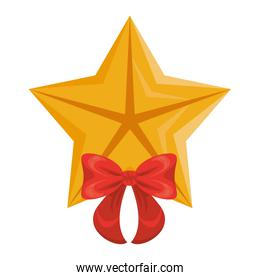 quality star with bow commercial isolated icon