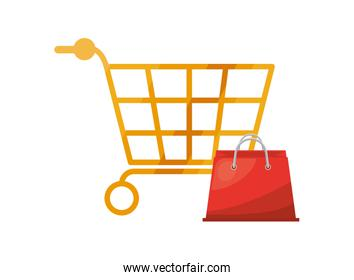 shopping cart and bag market isolated icon