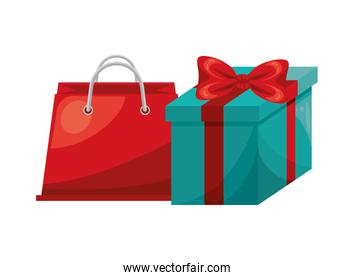 shopping bag and gift marketing icon