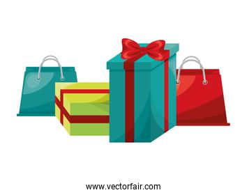 shopping bags and gifts marketing icon