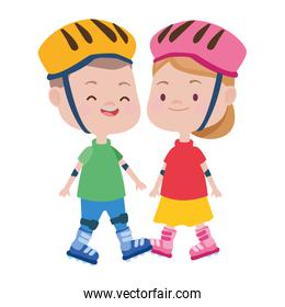 cute little kids with skates characters