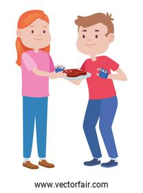 young couple characters with meat steak