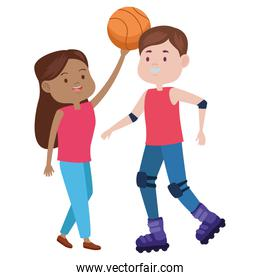 young couple characters playing basketball