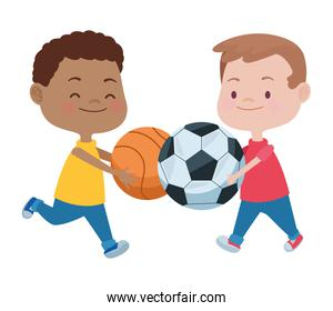 cute little boys with soccer and basket balloons