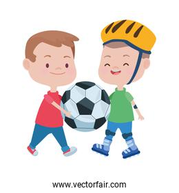 cute little boys playing soccer and skates characters