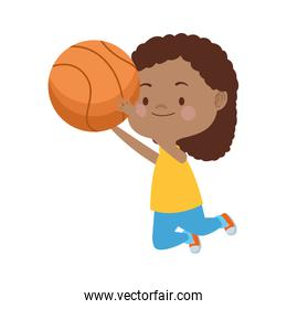 afro cute little girl with basketball balloon character