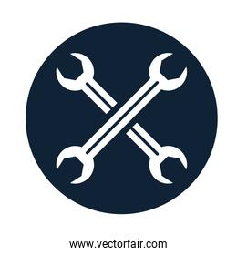 wrench crossed mechanic tools flat icons