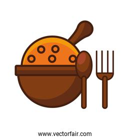fork and spoon wooden cutleries icon