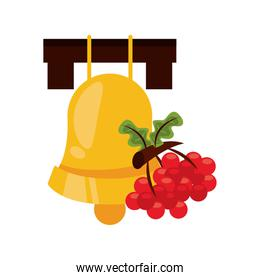 sweet grapes fruits and leafs nature icon