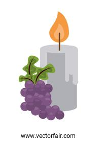paraffin candle fire isolated icon