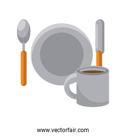 dish with spoon and knife