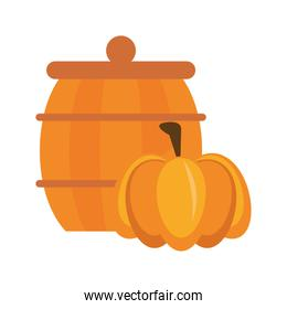 wooden barrel pot isolated icon