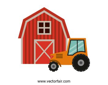 tractor and stable building farm isolated icon
