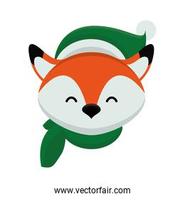 cute little fox with christmas clothes