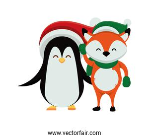 cute penguin with christmas hat character