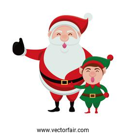 merry christmas santa claus and elf characters