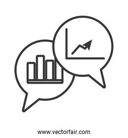 speech bubbles with statistics graphics