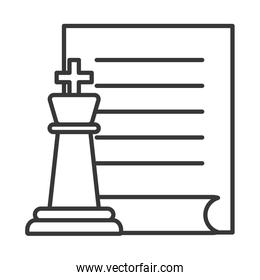 chess piece game with paper document