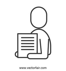 avatar businessman silhouette with paper document