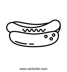 delicious hot dog fast food line style icon