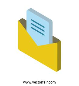 envelope mail open isolated icon