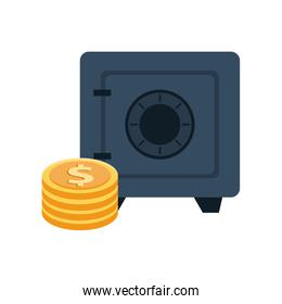 safe box money with coins dollars