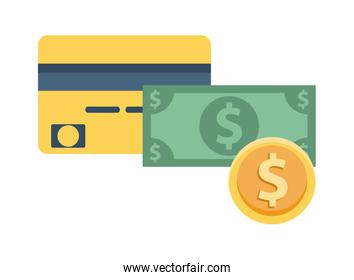 bill and coin money dollars with credit card