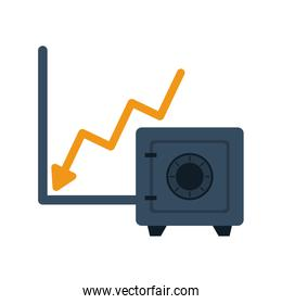 financial statistics graphic with safe box