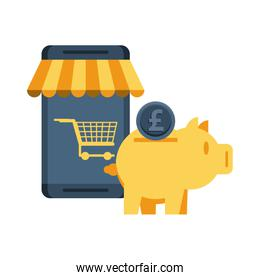 piggy savings money with smartphone ecommerce
