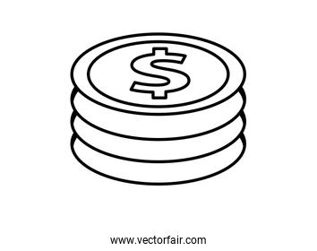 coins dollars money isolated icon