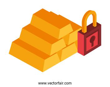 gold bullion pyramid isolated icon