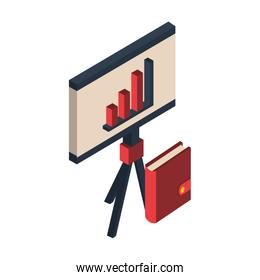 paperboard with financial statistics bars graphic