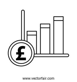 financial bars statistics graphic with pound sterling