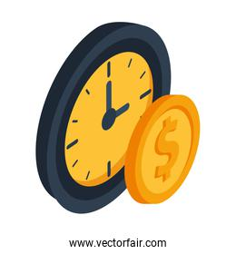 time clock watch isolated icon